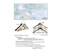Gift Certificate for Shower/Housewarming/Birthday Custom Hangers