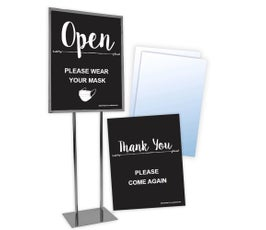 "Floor Standing Sign Kit, Open, Please Wear Your Mask And Thank You, With Clear Sign Protectors 22"" X 28"""