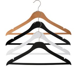 "17"" NAHANCO SlimLine Space Saving Wooden Suit Hanger with Pant Bar-Select Color & Pack Size"
