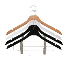 """17"""" NAHANCO SlimLine Space Saving Wooden Suit Hanger with Chrome Clips- Select Color"""