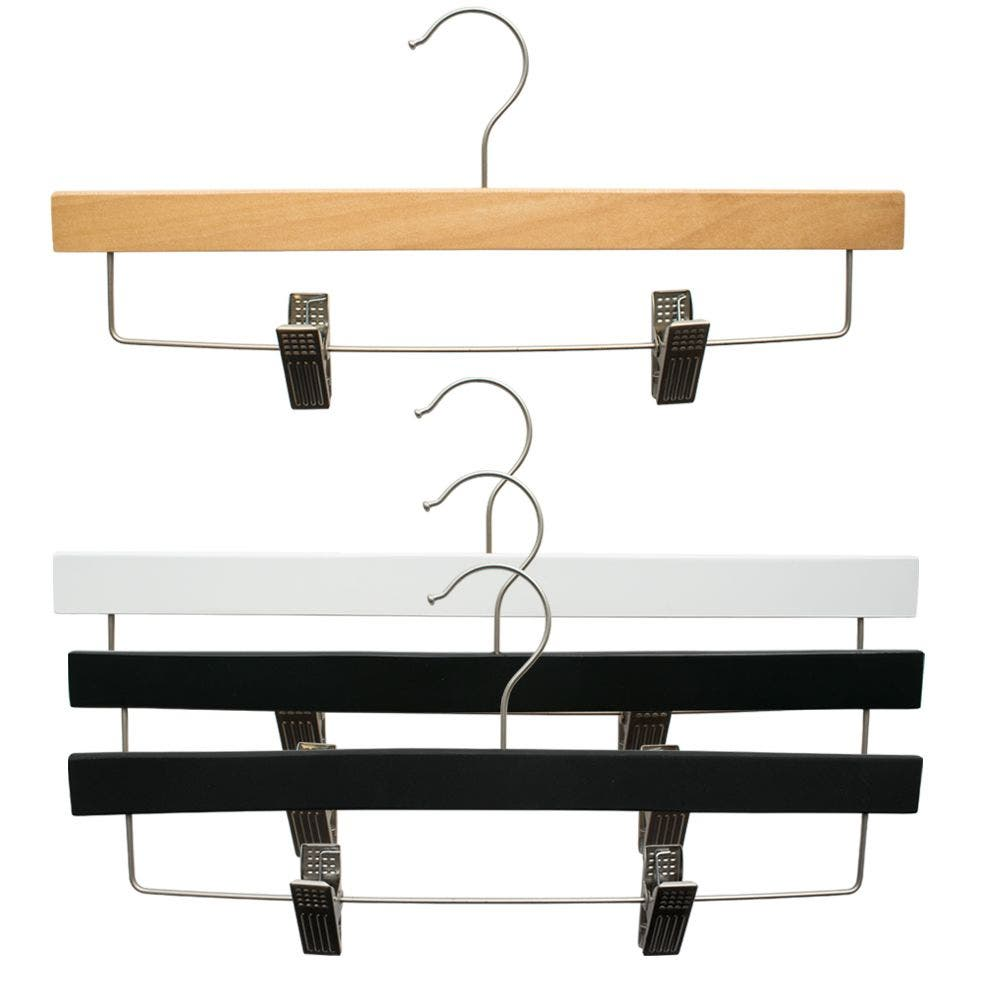 "14"" NAHANCO SlimLine Space Saving Wooden Pant/Skirt Hanger with Padded Clips- Select Color & Pack Size"