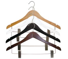 Wooden Suit Hangers with Clips - NAHANCO - Select Options