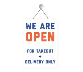 """Take Out and Delivery Only, Blue and Orange, COVID-19,  Metal Sign Kit, 12""""H x 8""""W"""