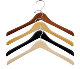 "Extra Thick 17"" Wooden Concave Jacket Hanger"