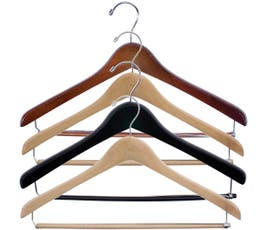 """Extra Thick 17"""" Wooden Concave Suit Hanger with Locking Bar"""