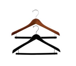 """Extra Thick 17"""" Wooden Concave Suit Hanger with Locking Skirt/Pant Bar and Rubberized Sleeve"""