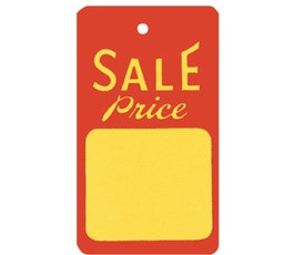 """""""Sale Price"""" Tags - Large Strung -  Red/Yellow"""