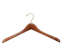 "Wooden Jacket Hangers - Walnut Gold Series - 17"" Walnut Finish (1"" Thick)"
