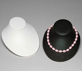 Necklace Display - Leatherette Low Profile Bust - Black or White
