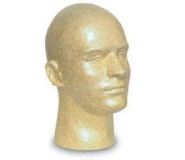 "Mannequin Display Head - Men's - 11 1/2"" Tall Suntan"