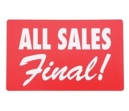 "Plastic Display Cards - 7"" x 11"" - ""All Sales Final"""