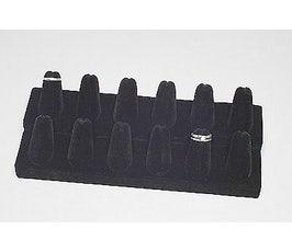 Ring Display - Twelve Finger - Black Velvet
