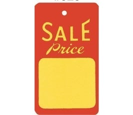 """Sale Price"" Tags - Large Unstrung - Red/Yellow"