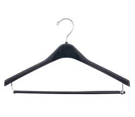"""Plastic Suit Hangers - Sturdy Concave w/Round Hook - 17"""" Black"""