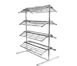 Chrome Shoe Merchandising Rack with 8 Shelves
