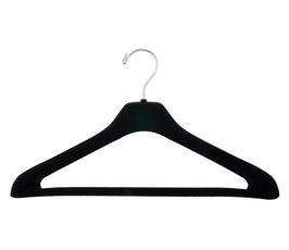 "Plastic Suit Hangers - Elegant Concave Flocked  - 17"" Black"
