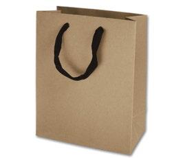 Eco Euro Shopping Bags - Medium - Kraft w/ Black Handles