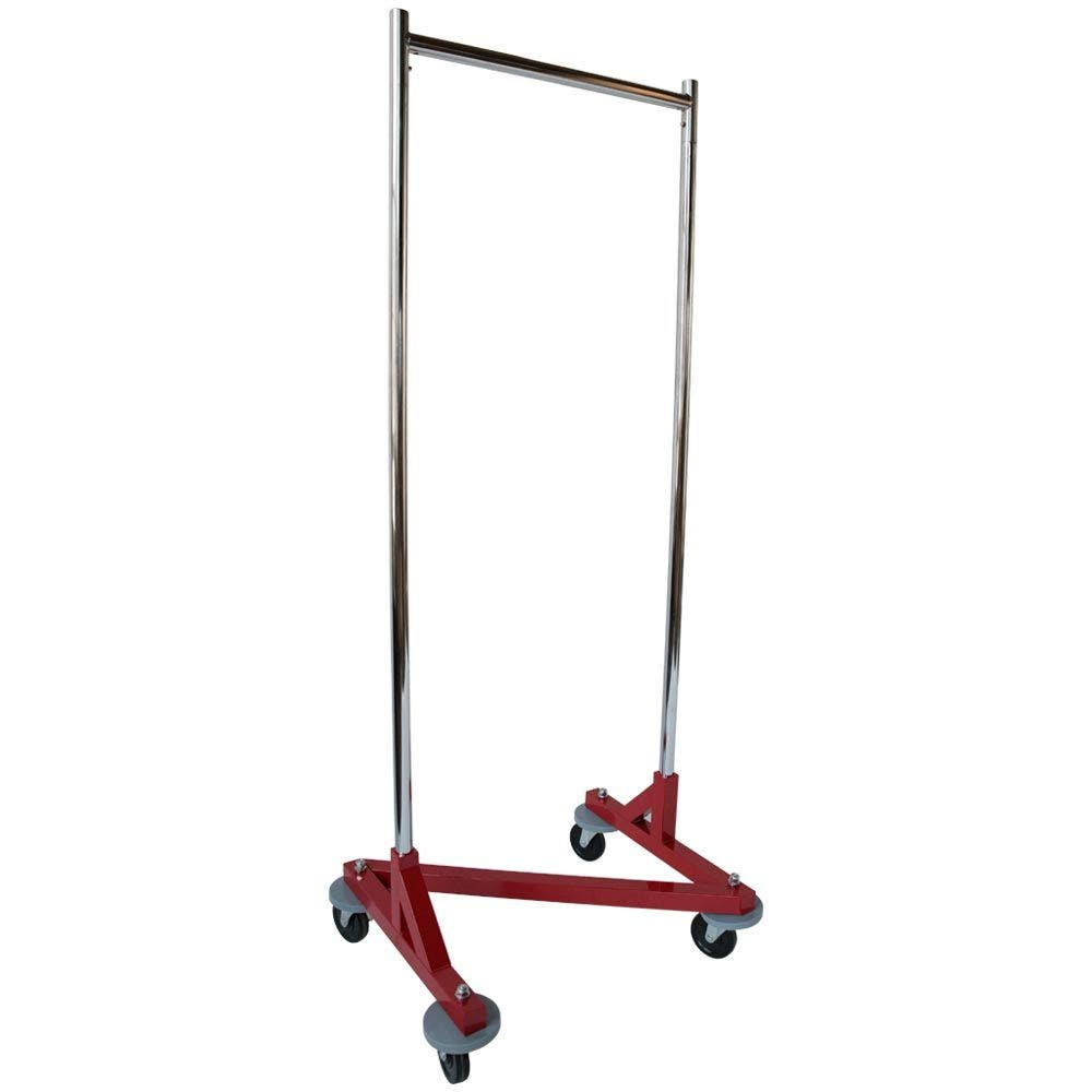 """Commercial Compact Clothes Rack,  24"""" Rolling Z Rack with Bumpers, Chrome with Red Base"""