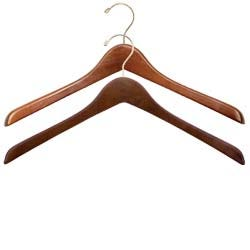 Walnut and Gold Wooden Hangers